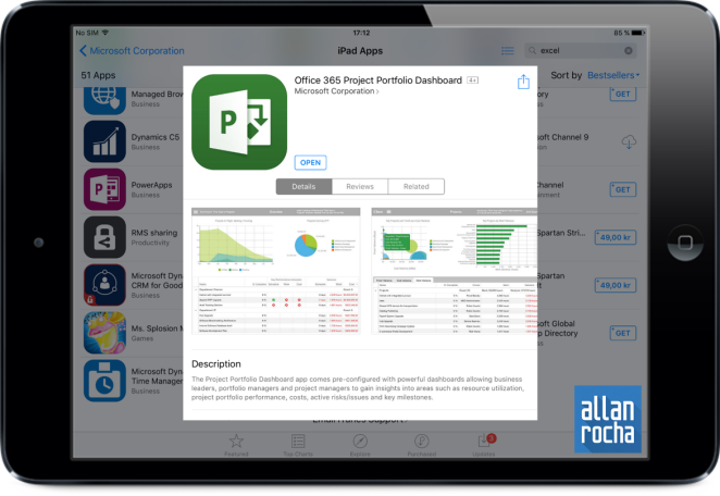 Office 365 Project Portfolio Dashboard iPad App 01