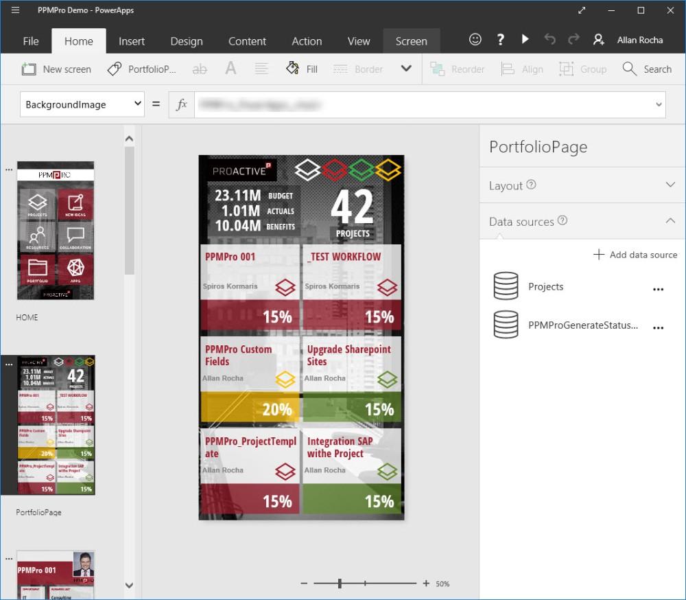 PPMPro - PowerApps Studio