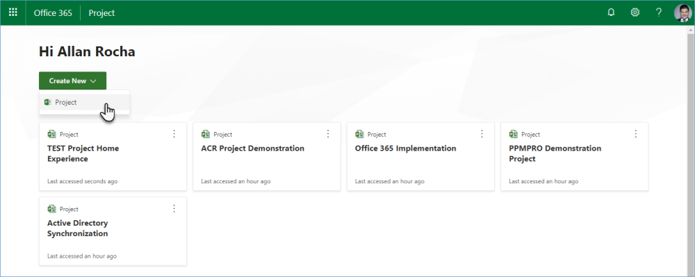 Office 365 Project Online: New home page for your projects and users